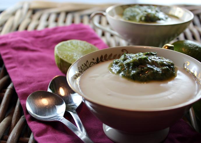 Limetten-Joghurt-Mousse mit süßem Basilikumpesto