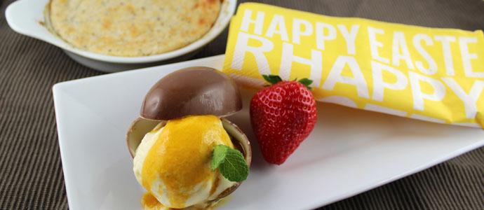 Rhabarbersoufflé mit Mango-Vanille-Eis
