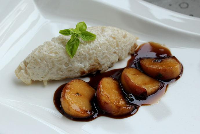 Milchreis mit Muscovado-Balsamico-Pfirsichen