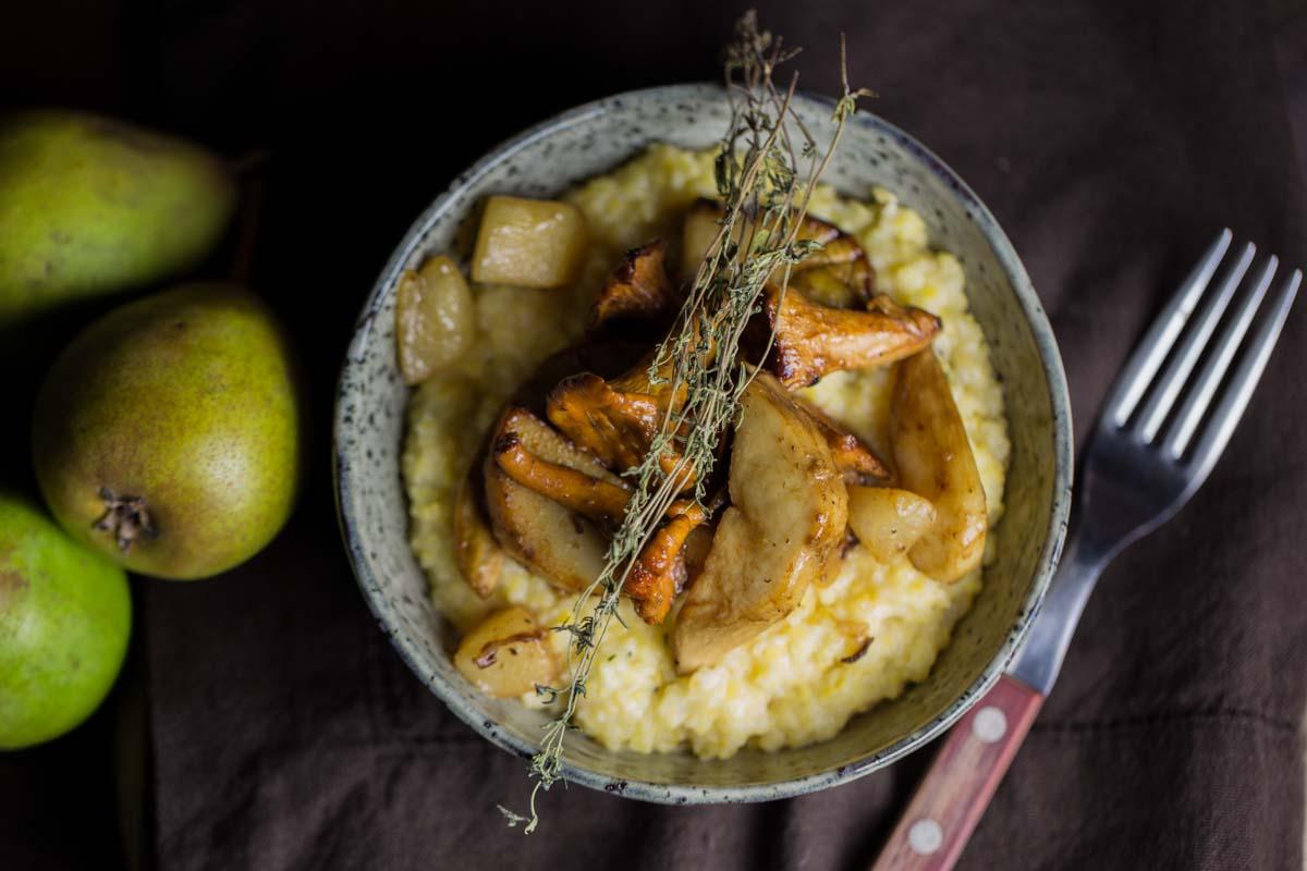Polenta mit Pilzen und Birne-2