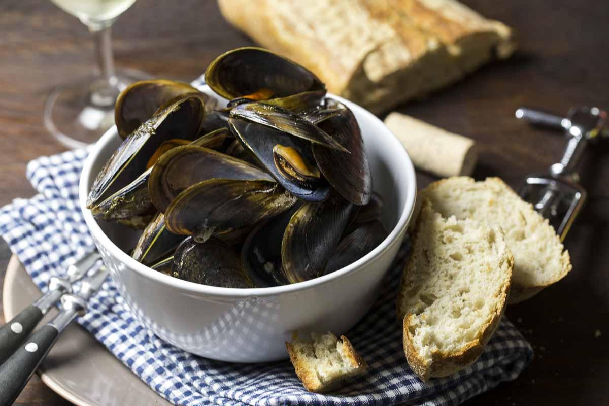 Muscheln in Weißwein